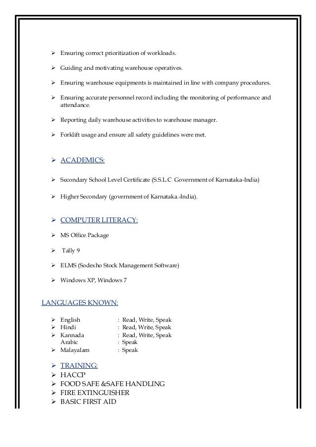 How To Write A Resume For Shipping Receiving Forklift
