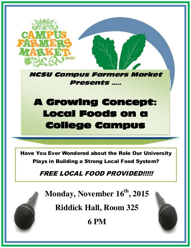 NCSU Campus Farmers Market Presents ….. A Growing Concept: Local Foods on a College Campus Monday, November 16th , 2015 Ri...