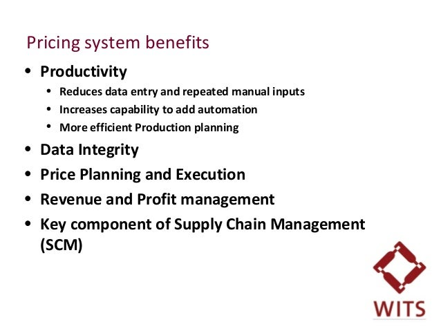 Pricing system benefits • Productivity • Reduces data entry and repeated manual inputs • Increases capability to add autom...
