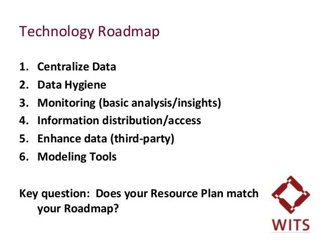 Technology Roadmap 1. Centralize Data 2. Data Hygiene 3. Monitoring (basic analysis/insights) 4. Information distribution/...