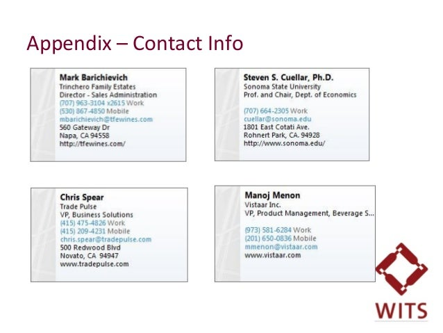 Appendix – Contact Info