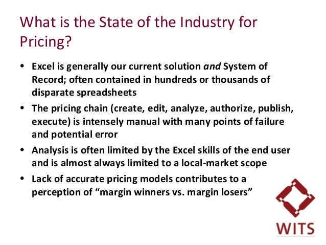 What is the State of the Industry for Pricing? • Excel is generally our current solution and System of Record; often conta...