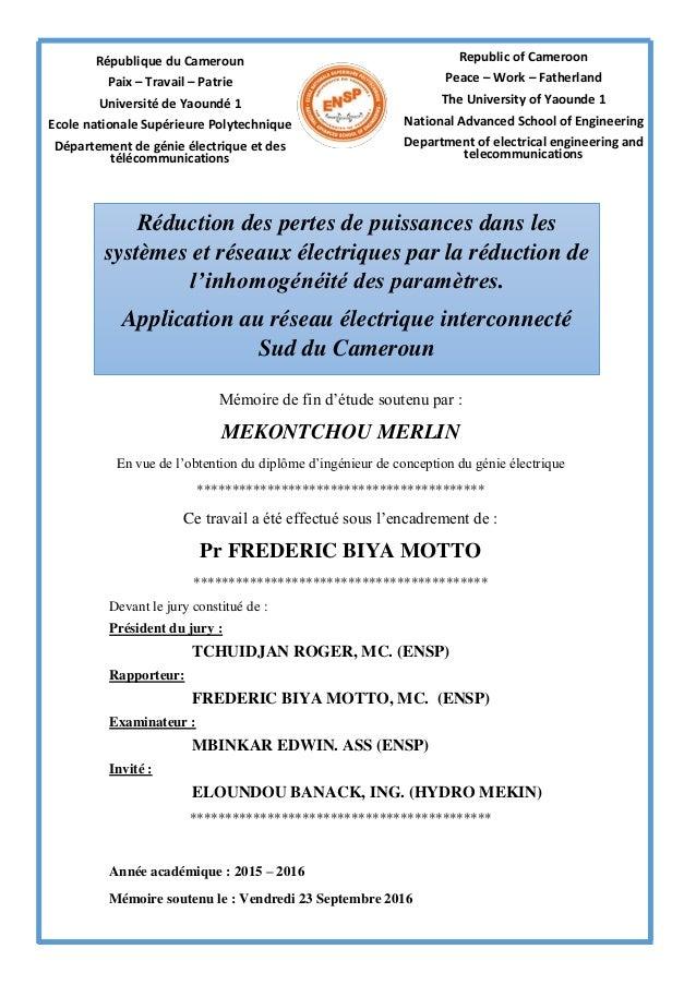 République du Cameroun Paix – Travail – Patrie Université de Yaoundé 1 Ecole nationale Supérieure Polytechnique Départemen...