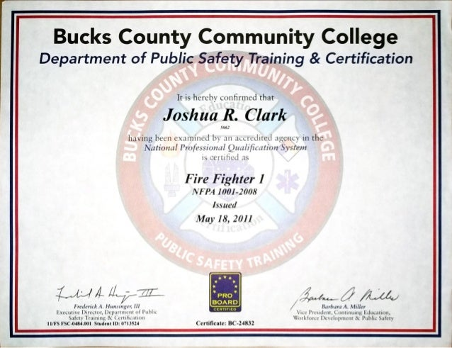 Firefighter 1 Certificate