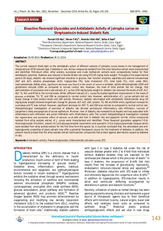 Int. J. Pharm. Sci. Rev. Res., 29(2), November – December 2014; Article No. 26, Pages: 143-156 ISSN 0976 – 044X Internatio...
