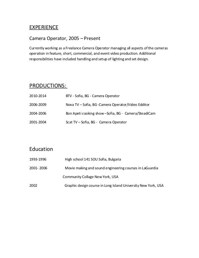 Assistant Cameraman Resume   Sales   Assistant   Lewesmr Picture