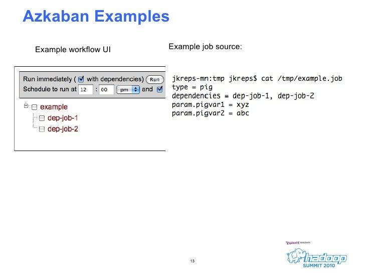 Azkaban Examples <ul><li>Example job source: </li></ul>Example workflow UI