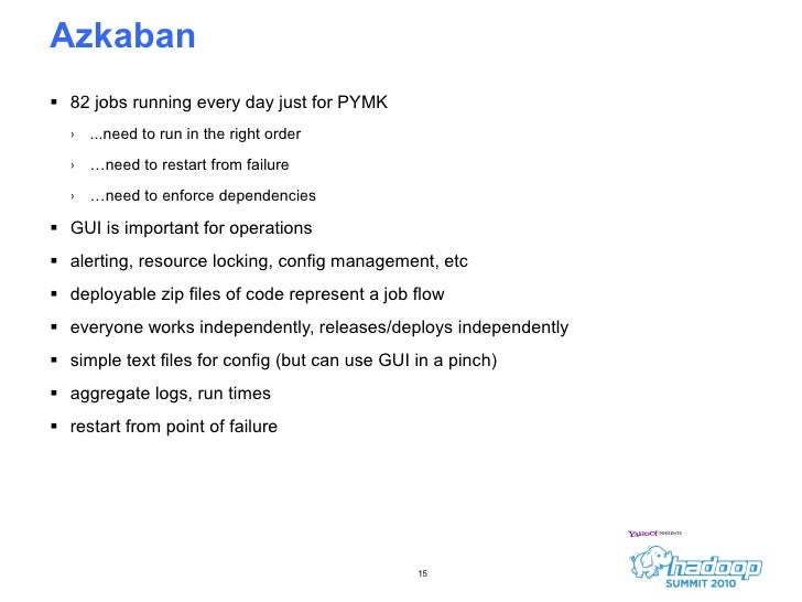 Azkaban  <ul><li>82 jobs running every day just for PYMK </li></ul><ul><ul><li>...need to run in the right order </li></ul...