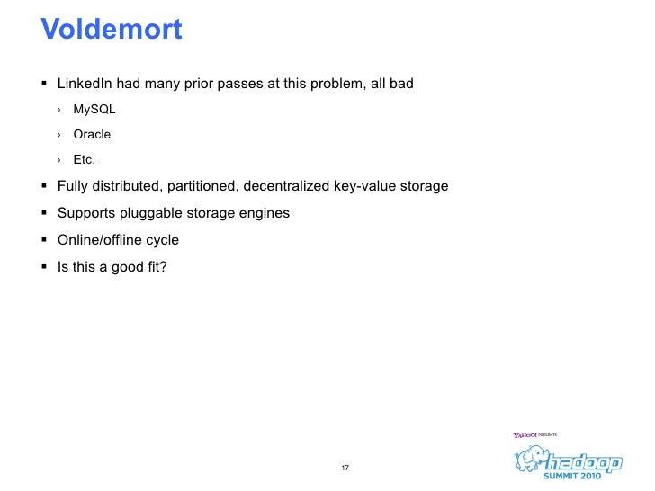 Voldemort <ul><li>LinkedIn had many prior passes at this problem, all bad </li></ul><ul><ul><li>MySQL </li></ul></ul><ul><...
