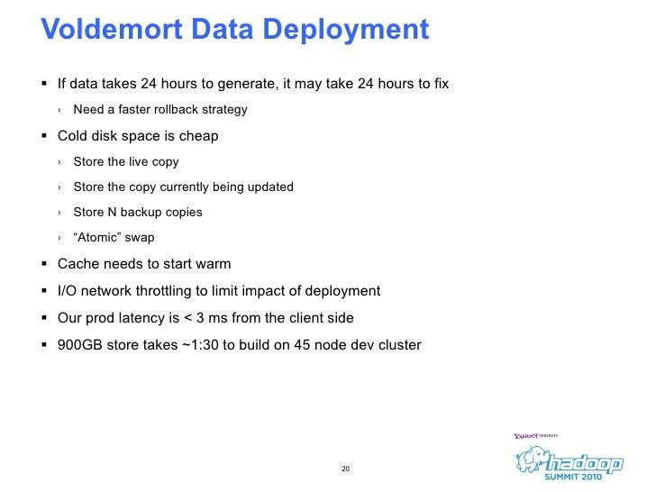 Voldemort Data Deployment <ul><li>If data takes 24 hours to generate, it may take 24 hours to fix </li></ul><ul><ul><li>Ne...