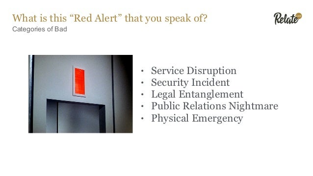 Red Alert Plans What to Include • Process • Roles & Duties • Staffing • Tools • Communications • Special Cases • Metrics