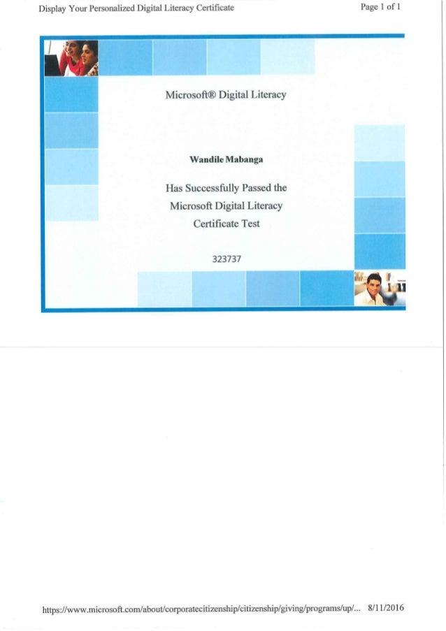 Digital Literacy Certificate