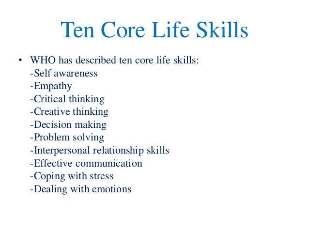 life skills thesis A study of the effectiveness of a structured life skills program in facilitating  appropriate classroom behavior doctoral dissertation rutgers, nj: graduate  school.