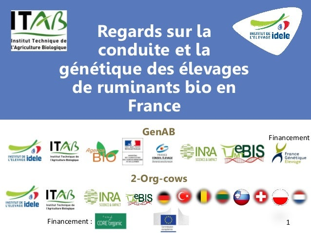 Regards sur la conduite et la génétique des élevages de ruminants bio en France 1 GenAB 2-Org-cows Financement Financement...