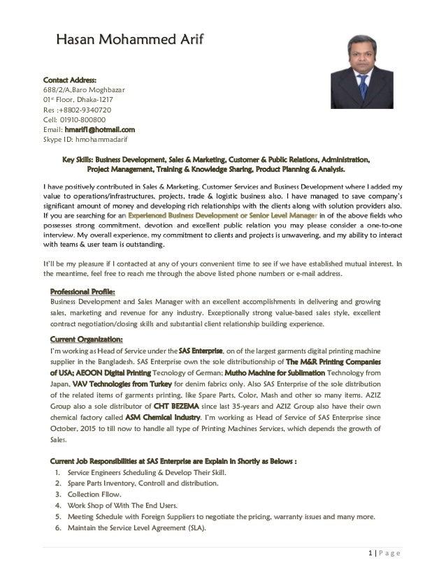 Resume Of Hasan Mohammad Arif