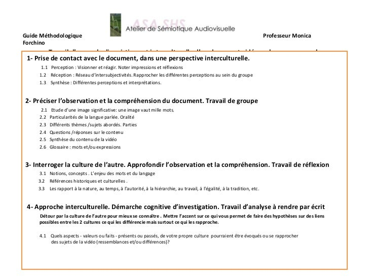 Guide Méthodologique  Professeur Monica Forchino   Travail d'approche linguistique et interculturelle d'un document vidéo ...