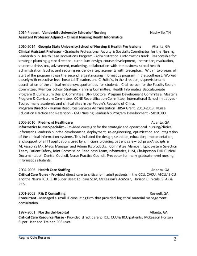 Health Informatics Specialist Sample Resume Simple Resume Examples