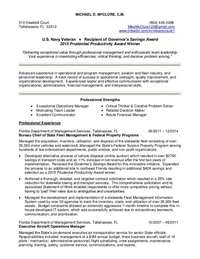 Resume for Mike McClure (Operations-Program Manager & Exceptional Lea…