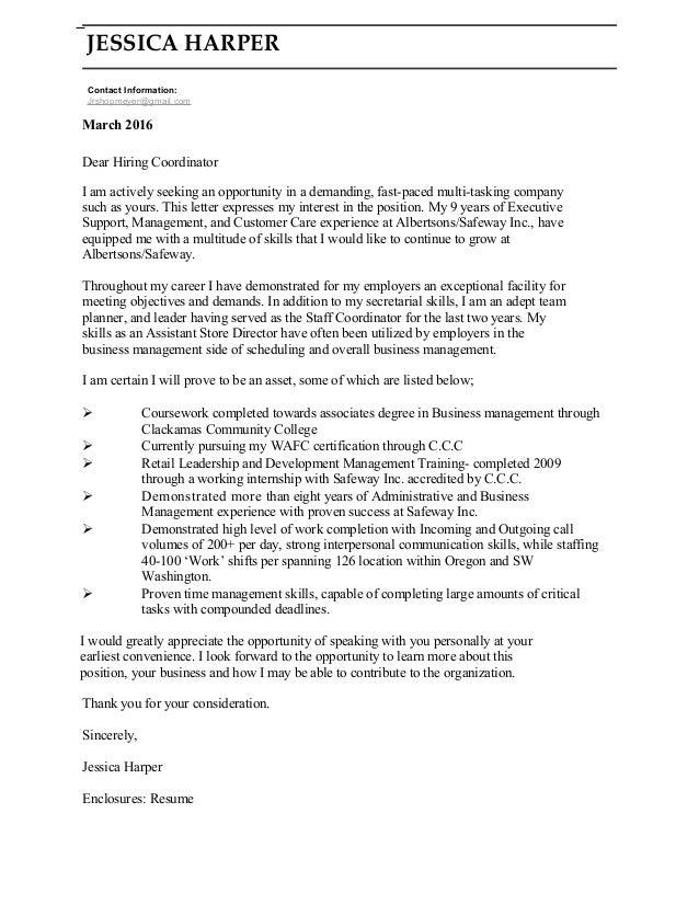 JESSICA HARPER Contact Information: Jrshopmeyer@gmail.com March 2016 Dear  Hiring Coordinator I ...