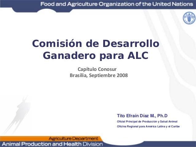 Capítulo Conosur Brasilia,Septiembre 2008 Tito Efraín Díaz M., Ph.D Oficial Principal de Producción y Salud Animal Oficin...