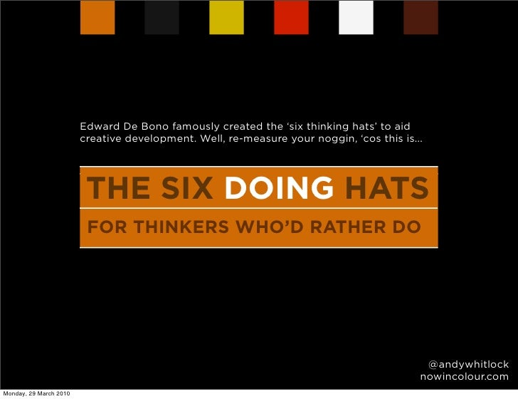 Edward De Bono famously created the 'six thinking hats' to aid                         creative development. Well, re-meas...