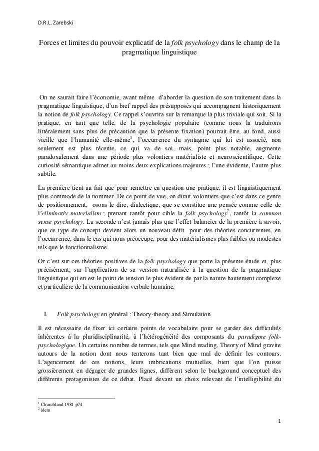 D.R.L. Zarebski 1 Forces et limites du pouvoir explicatif de la folk psychology dans le champ de la pragmatique linguistiq...