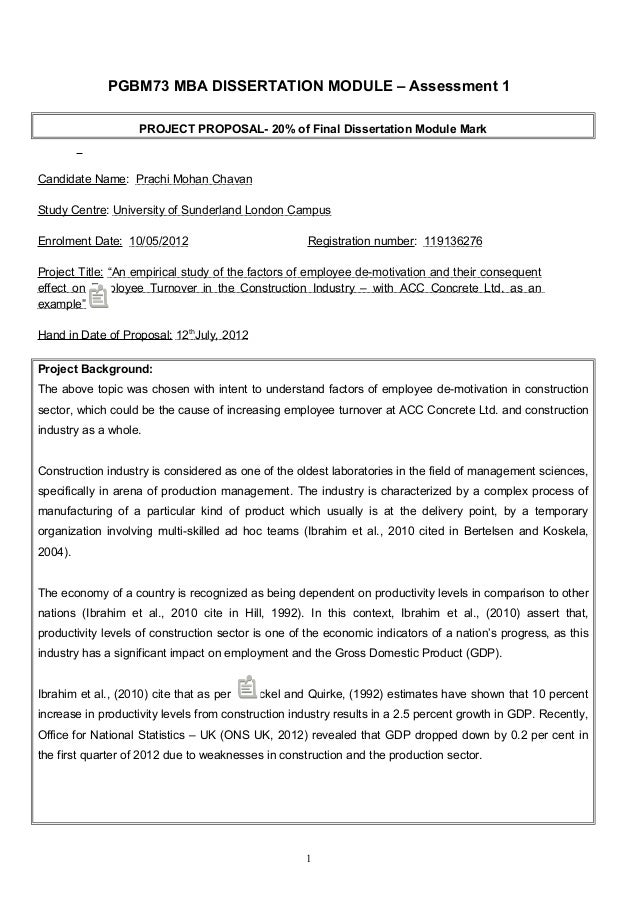 Dissertation for construction project management