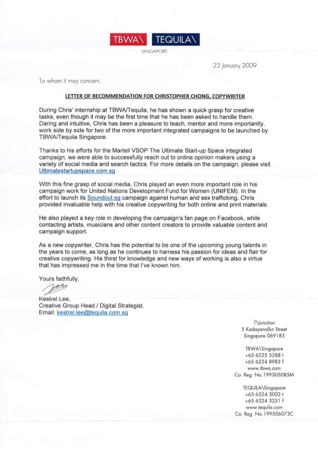 TBWA Letter of mendation