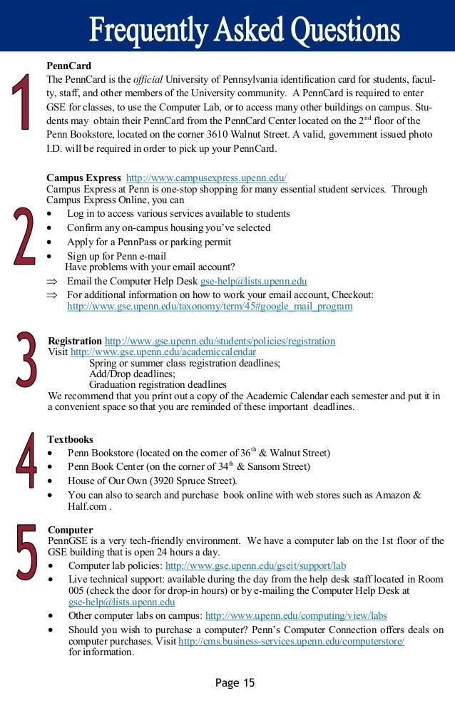 Academic Calendar Upenn.International Students Resource Guide Fall 2015 Single Page
