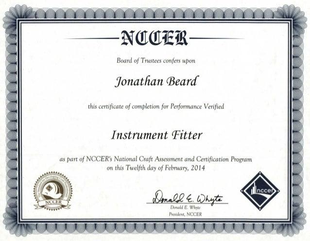 Nccer Instrument Fitter Certification