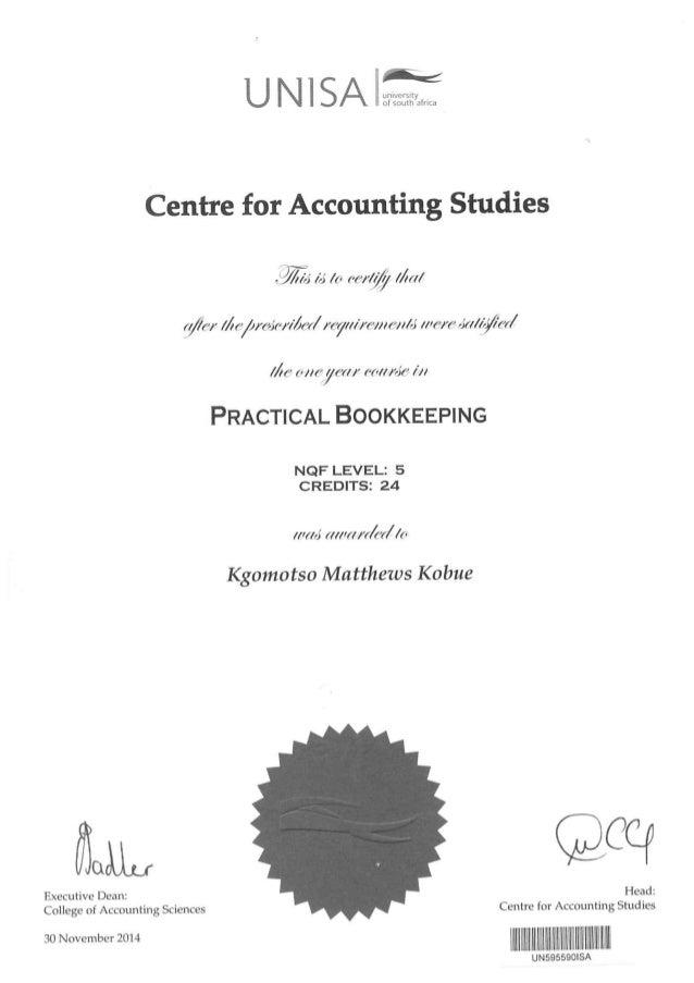 Unisa - Bookkeeping Certificate