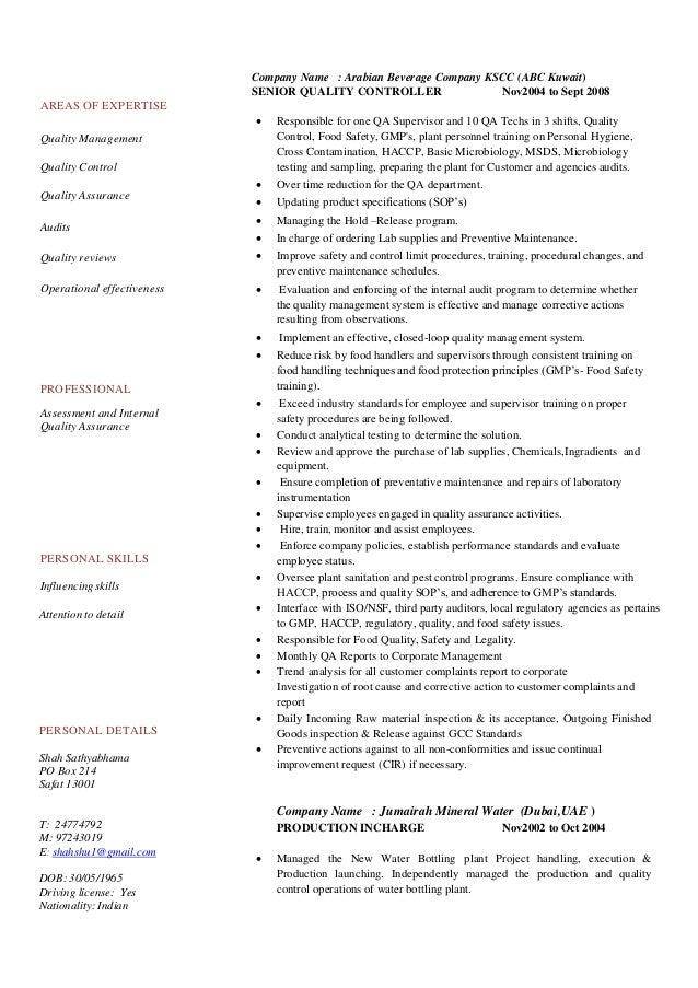 CV (Food Safety Complaince Manager ,Quality Assurance ) Rev