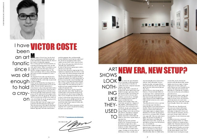 CONTEMPORARYARTNETHERLANDS VICTOR COSTE My name is Victor Coste, I am the chief editor of Contemporary Art Netherlands and...
