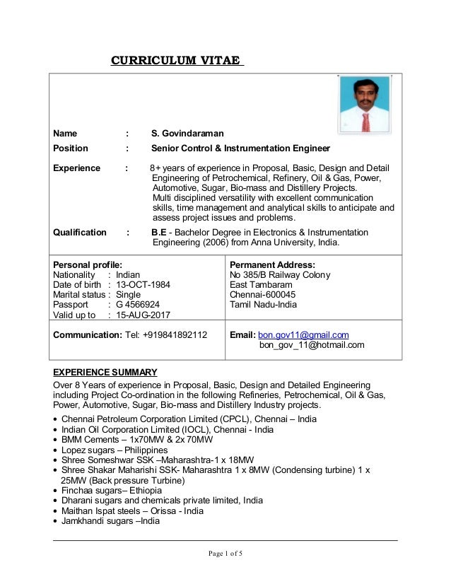 cv of and instrumentation engr