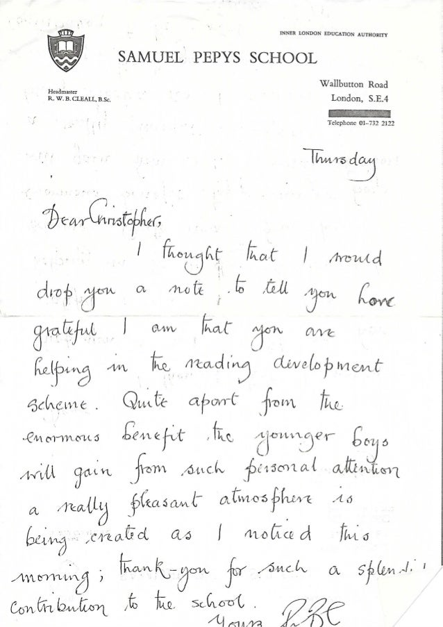 Letter from headmaster expocarfo Choice Image