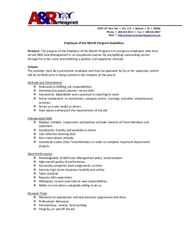 Employee of the month program guidelines for Employee guidelines template