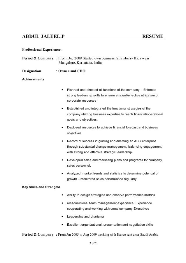 own business resumes