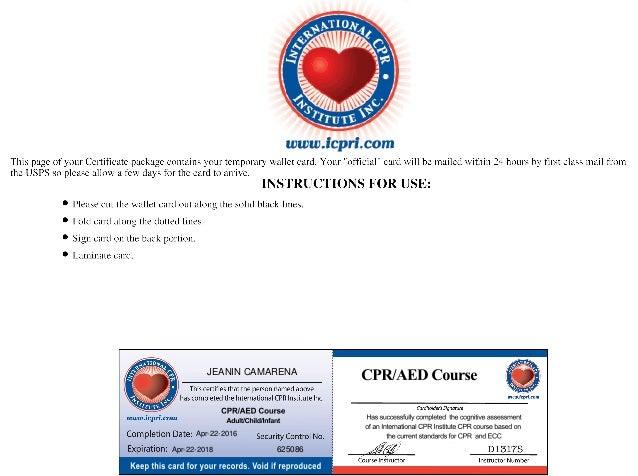 cpr certificate jeanin