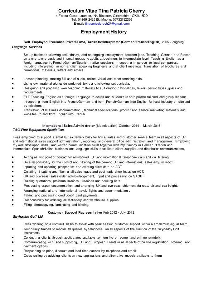 curriculum vitae tina patricia cherry may 2015
