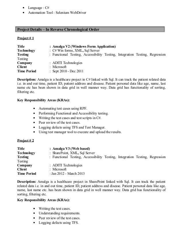 qtp resume slideshare - Selenium Testing Resume