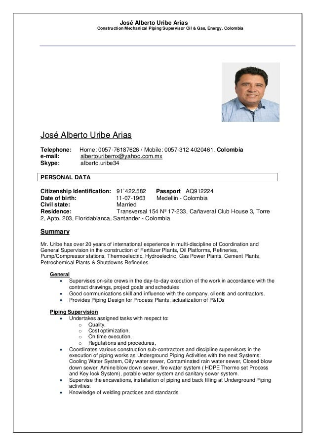 José Alberto Uribe Arias Construction Mechanical Piping Supervisor Oil & Gas, Energy. Colombia José Alberto Uribe Arias Te...