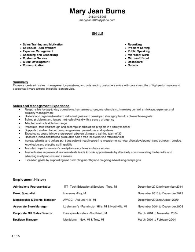 mary jean burns 2483105905 maryjean2020yahoocom skills sales training and - Retail Resume