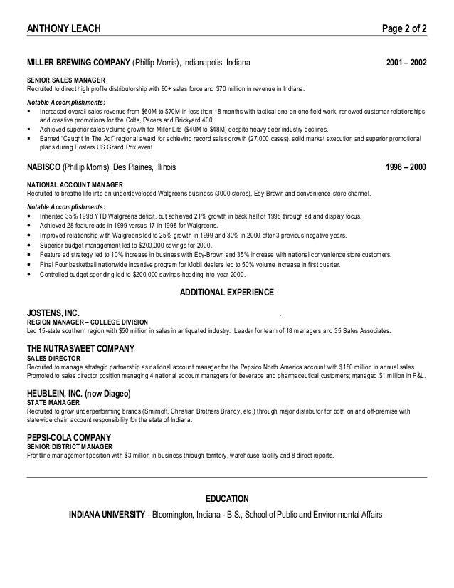 New Beer Sales Sample Resume