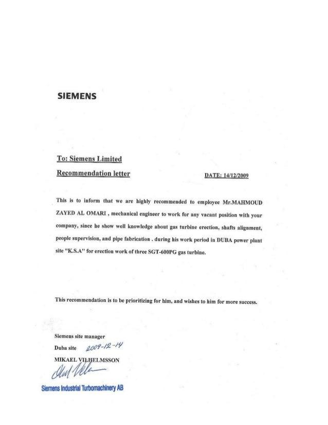 siemens recomndation letter