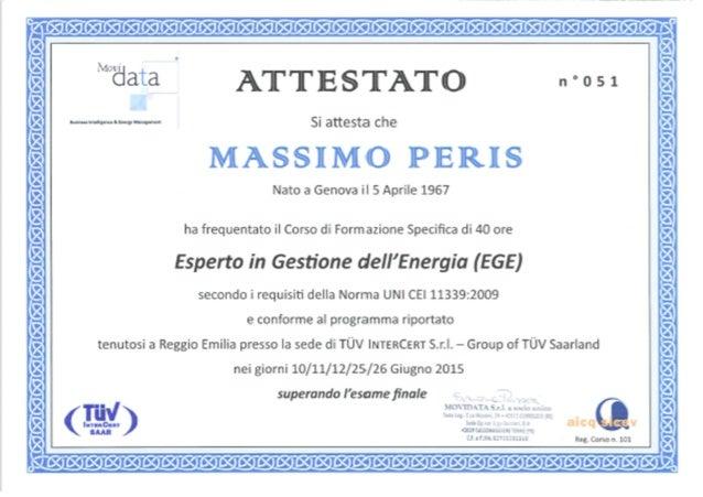 AE 51 EGE ATTESTATO MASSIMO PERIS