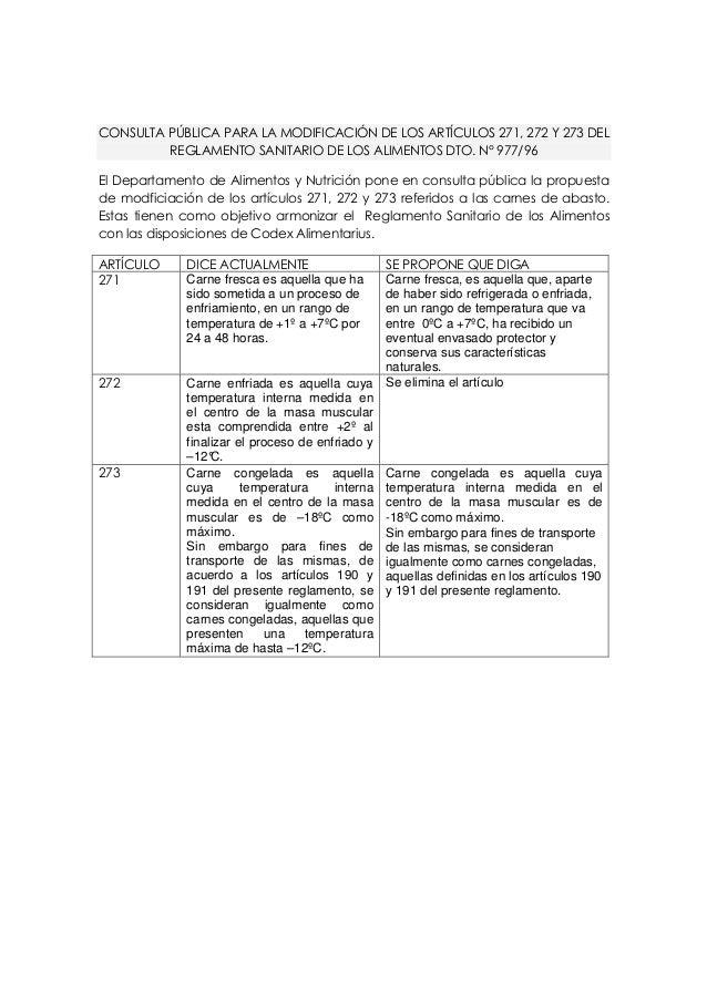 CONSULTA PÚBLICA PARA LA MODIFICACIÓN DE LOS ARTÍCULOS 271, 272 Y 273 DEL REGLAMENTO SANITARIO DE LOS ALIMENTOS DTO. N° 97...