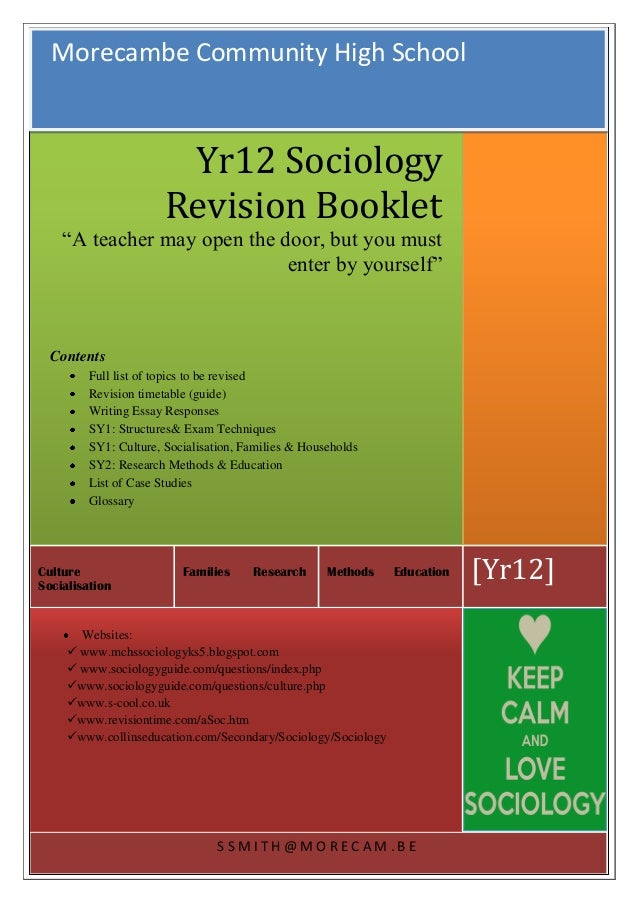 S S M I T H @ M O R E C A M . B E [Yr12]Methods EducationFamilies ResearchCulture Socialisation Yr12 Sociology Revision Bo...