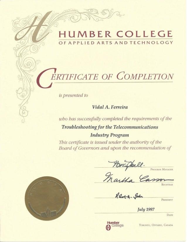 Tony Ferreira - Humber College - Certificate