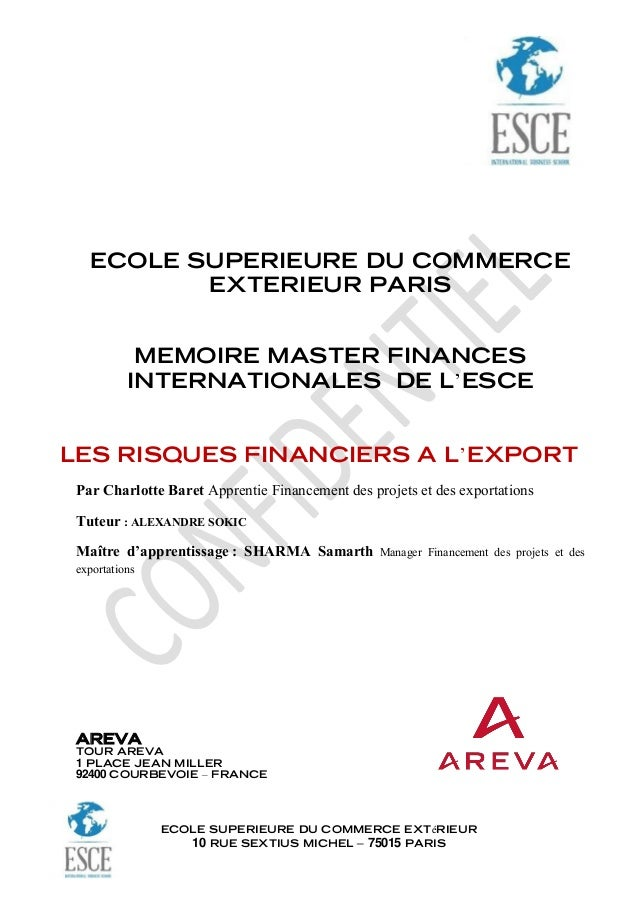 Page de garde memoire for Ecole superieure du commerce exterieur esce