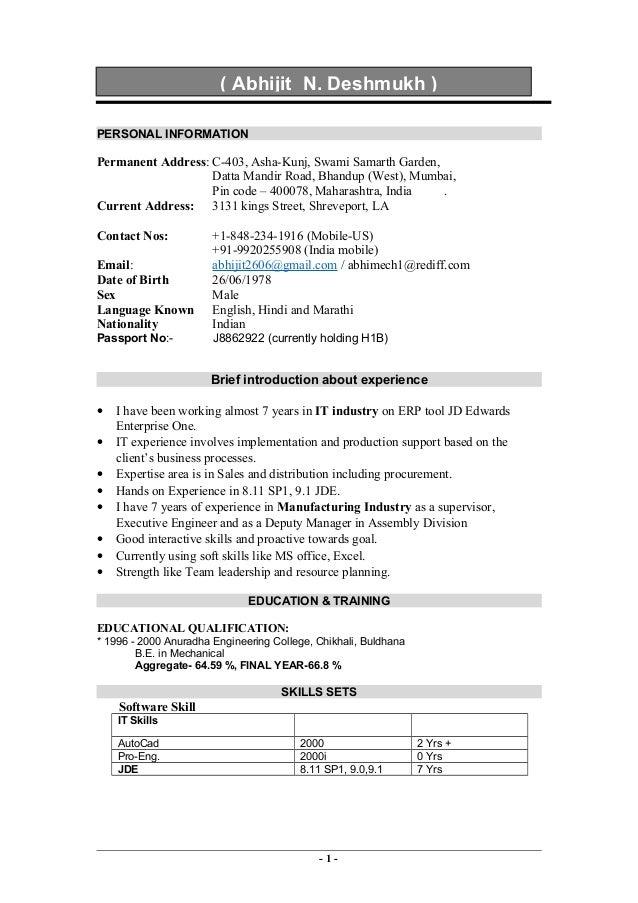 PERSONAL INFORMATION Permanent Address: C 403, Asha Kunj, Swami Samarth  Garden ...